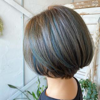 透明感カラー ショートボブ ボブ ミニボブ ヘアスタイルや髪型の写真・画像