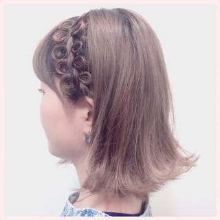 ショート 簡単ヘアアレンジ ボブ 外ハネ ヘアスタイルや髪型の写真・画像