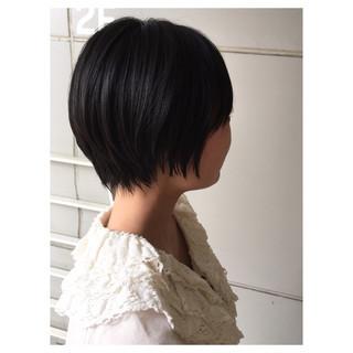 ショート マッシュショート 黒髪 ナチュラル ヘアスタイルや髪型の写真・画像