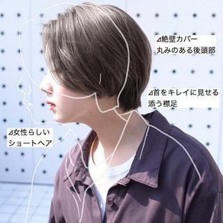 前髪 ストレート ミルクティーグレージュ グレージュ ヘアスタイルや髪型の写真・画像