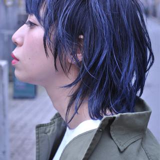 ブルーアッシュ ブルー スポーツ グラデーションカラー ヘアスタイルや髪型の写真・画像