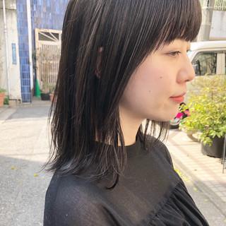 ミディアム 外国人風 ハイライト ロブ ヘアスタイルや髪型の写真・画像