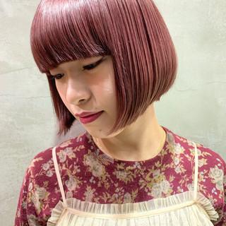 ラベンダーピンク デート ボブ ガーリー ヘアスタイルや髪型の写真・画像