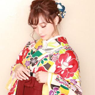 成人式 セミロング 袴 着物 ヘアスタイルや髪型の写真・画像