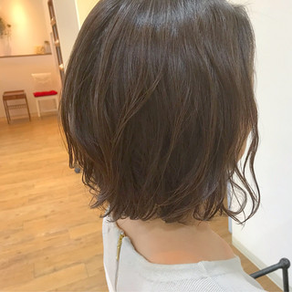 くせ毛風  ナチュラル ボブ ヘアスタイルや髪型の写真・画像
