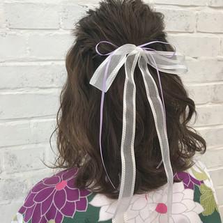 ハーフアップ ガーリー ミディアム ヘアアレンジ ヘアスタイルや髪型の写真・画像 ヘアスタイルや髪型の写真・画像