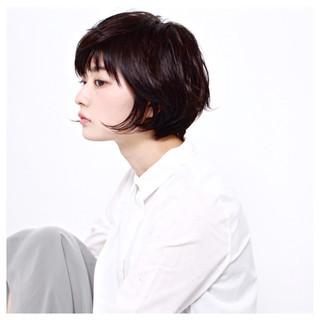 黒髪 前髪あり 大人かわいい ショートボブ ヘアスタイルや髪型の写真・画像