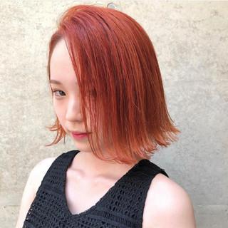 オルチャン オレンジ ボブ イエロー ヘアスタイルや髪型の写真・画像