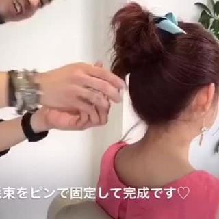 ヘアアレンジ お団子 ミディアム フェミニン ヘアスタイルや髪型の写真・画像