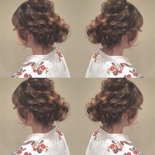 波ウェーブ ヘアアレンジ セミロング 結婚式 ヘアスタイルや髪型の写真・画像