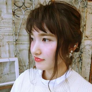 大人かわいい ショート ヘアアレンジ セミロング ヘアスタイルや髪型の写真・画像