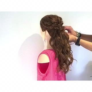 ヘアアレンジ 女子会 三つ編み フェミニン ヘアスタイルや髪型の写真・画像