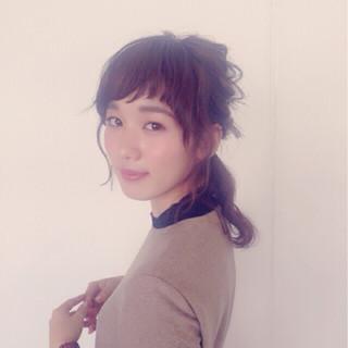 ハーフアップ ナチュラル ゆるふわ ミディアム ヘアスタイルや髪型の写真・画像