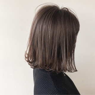 デート グレージュ ナチュラル ボブ ヘアスタイルや髪型の写真・画像