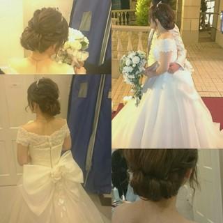 ドレス ブライダル 大人かわいい ヘアアレンジ ヘアスタイルや髪型の写真・画像 ヘアスタイルや髪型の写真・画像