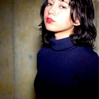 モード ナチュラル 黒髪 ミディアム ヘアスタイルや髪型の写真・画像