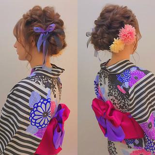 簡単ヘアアレンジ セミロング 浴衣アレンジ フェミニン ヘアスタイルや髪型の写真・画像