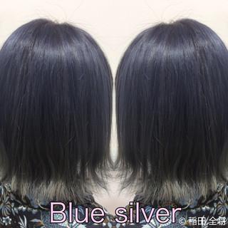 ナチュラル可愛い ブルー ブルーアッシュ シルバーアッシュ ヘアスタイルや髪型の写真・画像