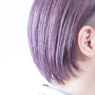 グレージュ ピンクパープル インナーカラーパープル パープル ヘアスタイルや髪型の写真・画像