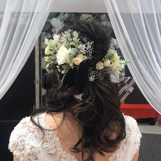 結婚式ヘアアレンジ セミロング 裏編み込み 編み込み ヘアスタイルや髪型の写真・画像