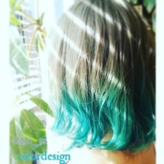 グラデーションカラー ストリート アッシュ グリーン ヘアスタイルや髪型の写真・画像 ヘアスタイルや髪型の写真・画像