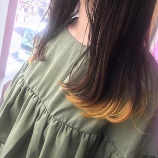 ハニーイエロー デート 裾カラー ロング ヘアスタイルや髪型の写真・画像
