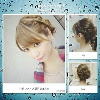 ルーズ 編み込み セミロング 結婚式 ヘアスタイルや髪型の写真・画像