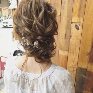大人かわいい ナチュラル 結婚式 ヘアアレンジ ヘアスタイルや髪型の写真・画像
