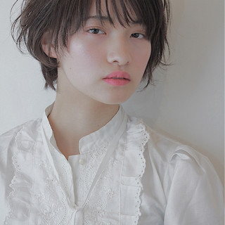 前髪あり 春 ショート デート ヘアスタイルや髪型の写真・画像