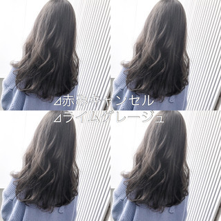 アッシュ ロング 前髪 スモーキーカラー ヘアスタイルや髪型の写真・画像