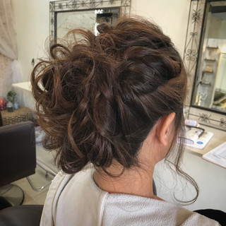 デート フェミニン 結婚式 セミロング ヘアスタイルや髪型の写真・画像