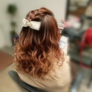 編み込み ガーリー ハーフアップ ヘアアレンジ ヘアスタイルや髪型の写真・画像