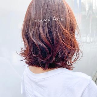 インナーカラーオレンジ オレンジカラー オレンジベージュ アプリコットオレンジ ヘアスタイルや髪型の写真・画像