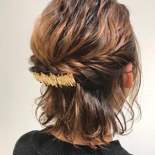 くるりんぱ パーマ ナチュラル ボブ ヘアスタイルや髪型の写真・画像