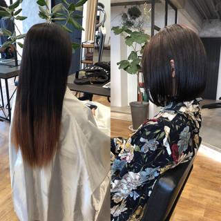 切りっぱなしボブ 銀座美容室 縮毛矯正 ナチュラル ヘアスタイルや髪型の写真・画像