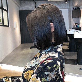 切りっぱなしボブ 銀座美容室 縮毛矯正 ナチュラル ヘアスタイルや髪型の写真・画像 | 本田 重人 / GRAFF hair