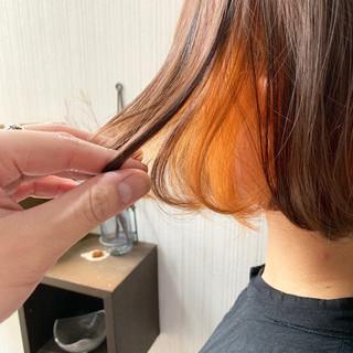 外国人風 透明感カラー ボブ インナーカラーオレンジ ヘアスタイルや髪型の写真・画像