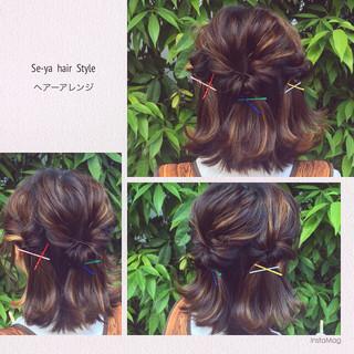 ヘアアレンジ ハイライト ガーリー グラデーションカラー ヘアスタイルや髪型の写真・画像