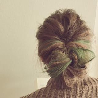 パーマ ナチュラル ヘアアレンジ 縮毛矯正 ヘアスタイルや髪型の写真・画像