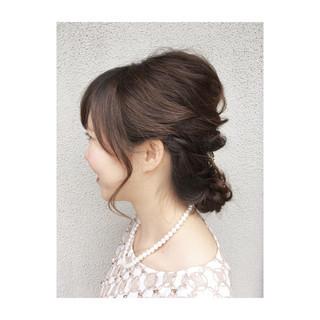 結婚式 エレガント セミロング 上品 ヘアスタイルや髪型の写真・画像