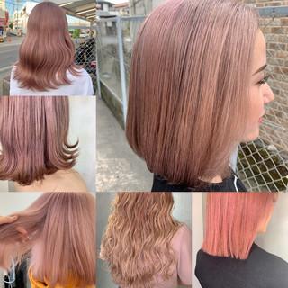 ベリーピンク ガーリー ボブ ピンクベージュ ヘアスタイルや髪型の写真・画像