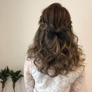 ヘアアレンジ ガーリー セミロング ハーフアップ ヘアスタイルや髪型の写真・画像