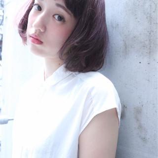 ピュア ワイドバング 外国人風 ボブ ヘアスタイルや髪型の写真・画像