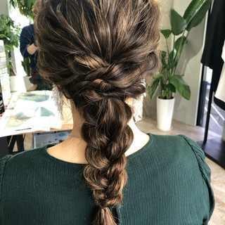 ヘアセット 編みおろし ロング ヘアアレンジ ヘアスタイルや髪型の写真・画像