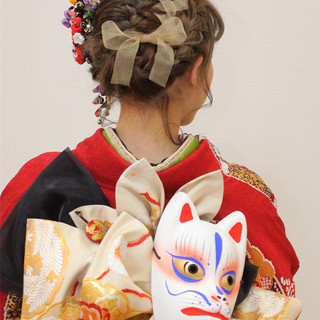 着物 セミロング 成人式 ヘアアレンジ ヘアスタイルや髪型の写真・画像