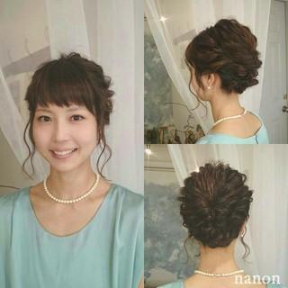 夏 編み込み セミロング ヘアアレンジ ヘアスタイルや髪型の写真・画像