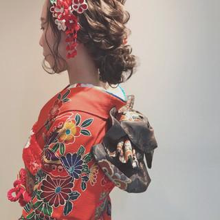 ロング 成人式 アップスタイル フェミニン ヘアスタイルや髪型の写真・画像