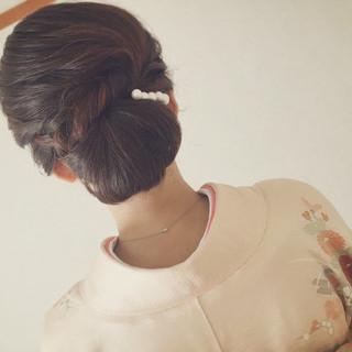 小顔 大人女子 ママ 着物 ヘアスタイルや髪型の写真・画像