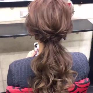 ポニーテールアレンジ ロング ヘアセット 編みおろし ヘアスタイルや髪型の写真・画像