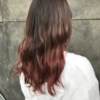 セミロング ダブルカラー ハイライト ピンク ヘアスタイルや髪型の写真・画像